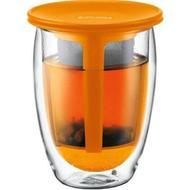 TEA FOR ONE  Glass, double wall, 0.35 l, 12 oz and tea strainer Orange