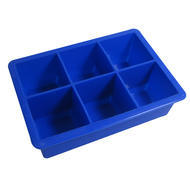 Jumbo 6 Hole Blue Silicone Ice Cube Mold