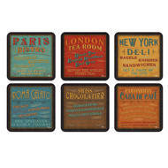 "Pimpernel Coasters - Lunchtime, Set of Six  4.25""x4.25"""