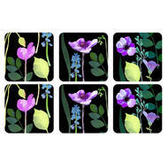 "Pimpernel Coasters - Black Water Garden Coasters, Set of Six  4.25""x4.25"""