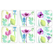 "Pimpernel Coasters - White Water Garden Coasters, Set of Six  4.25""x4.25"""