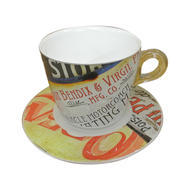 Plexart by Omada Vintage Signs Cappuccino Cup and Saucer