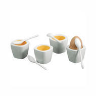 White Porcelain Egg Cup with Spoon Square