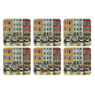 "Pimpernel Coasters -Boat Scene, Set of Six  4.25""x4.25"""