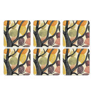 "Pimpernel Coasters -Dancing Branches, Set of Six  4.25""x4.25"""