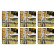 "Pimpernel Coasters -Birch Beauty, Set of Six  4.25""x4.25"""