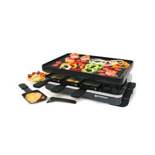 8 Person Classic Raclette Party Grill - Cast Iron Plate